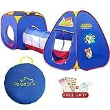 Peradix Spielzelt Kinderzelt Babyzelt mit krabbeltunnel 3-Teiliges Bällebad Spielhaus mit Zelt Tasche und Tunnel für Zuhause & im Garten (Ohne Bälle)