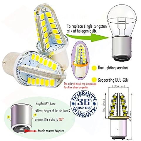 Wiseshine ampoule bay15d 1157 chaud canbus led bulbe DC9-30v 3 ans d'assurance qualité (pack de 2) bay15d 48smd 2835 blanc pur
