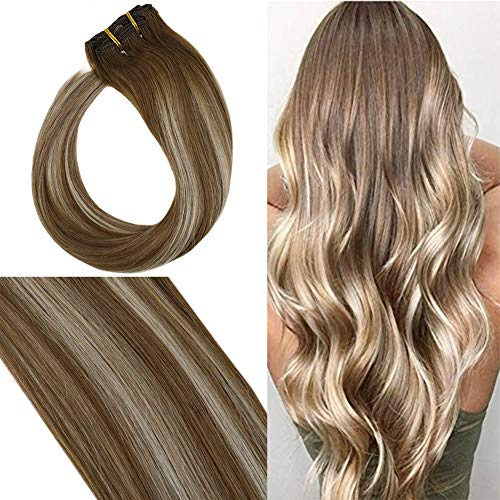 YoungSee 7 Tressen Haarverlängerung Clips Echthaar Braun mit Blond Balayage 45 cm Remy Double Weft Full Head Clip in Extensions Human Hair 120g (Human Hair Extensions Full Head)