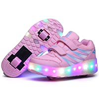 Luckly Grace Unisex Kids LED Wheel Roller Skate Shoes High Top Retractable Technical Skateboarding Sport Outdoor Flashing Gymnastics Sneaker for Boys Girls