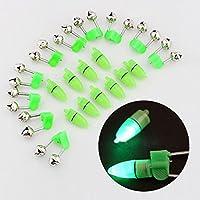 NiceButy caña de Pesca Astuce LED Clip 10Pieces Alarma Doble Campana electrónica–Luz LED en Forma para caña de Pesca prismáticos cascabeles poissons-appts de Alarma
