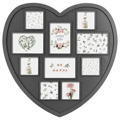 Cornice per foto multipla da muro a forma di cuore - contiene 10 foto - colore: grigio