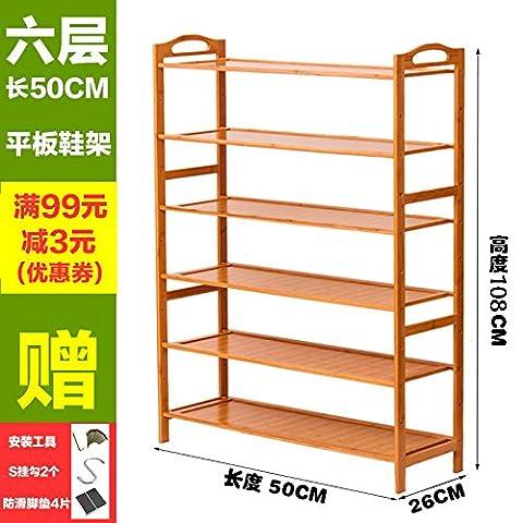 HOOM-Shoe Rack Stand 2-6 Tier Natural Bamboo Organizer Shelf Holder Storage Organizer,Six Tier L50cm