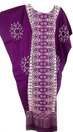Cool Kaftans Damen Bluse Malaya Schwarz Violett Rot Feiner Batikdruck Baumwolle Strandkleid Übergröße Neu - Violett, Übergröße (Feine Frauen Schwarze)