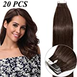 16'(40cm) Extensiones de Cabello Natural con Cinta Adhesiva 100% Remy Pelo Humano Liso Largo Tape in Hair Extensions 20 Unidades (50g,#4 Marrón Medio)