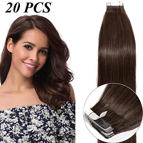 30cm-60cm extension capelli veri adesive 20 fasce con biadesivo tape extension 50g remy human hair lisci naturali 2.5g/fascia (45cm #4 marrone medio)