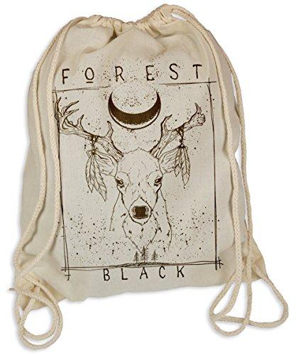 Kultige Hipster (Forrest Black Natur - Gymsac Turnbeutel - Stoffbeutel Hipster Sportbeutel Rucksack Tasche Hirsch Reh Elch)