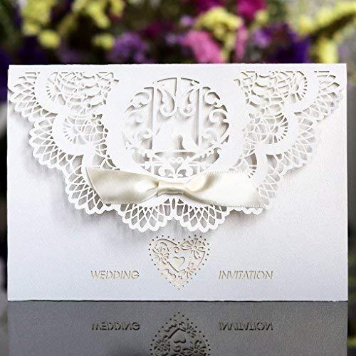 Benbilry 20 Stück Einladungskarten Hochzeit Hochzeitskarte Hochzeitseinladung Glückwunschkarte Grußkarte Spitze Design Enthalt Einladungkarte, Innere Blatt, Umschlag, Schleife