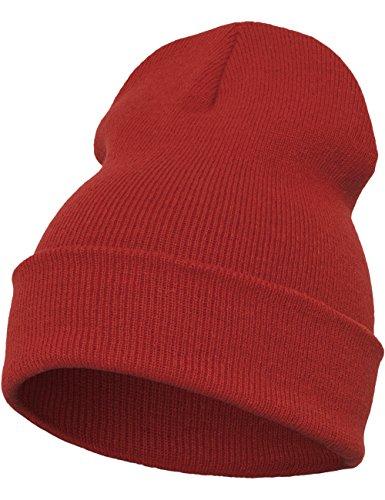 Flexfit - Berretto di peso medio, Unisex, Mütze Heavyweight Long Beanie, rosso, Taglia unica