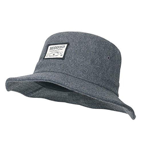 ililily Mono Farbe flach Oberteil verkabelt Krempe Fedora Wolle gemischt Eimer Hut , Grey (Brim Full Hut)