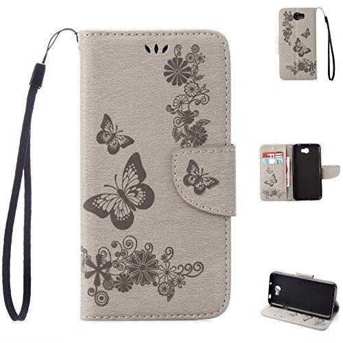 Huawei Y5 II Handyhülle Book Case Huawei Y5 2 Hülle Klapphülle Tasche im Retro Wallet Design mit praktischer Aufstellfunktion - Etui in Grau