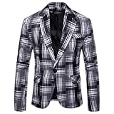 ESAILQ Herren Herbst Winter Formale Streifen Langarm Weste Jacke Top Coat (XX-Large,Weiß)