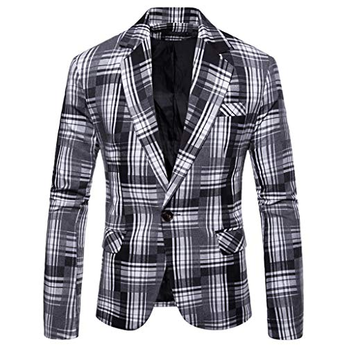 Top Zz Jacke Kostüm - ESAILQ Herren Herbst Winter Formale Streifen Langarm Weste Jacke Top Coat (Large,Weiß)