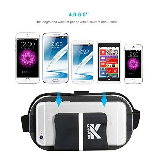 buykuk 3D VR Headset 3D VR Brille 3D VR Headset Virtual Reality Verstellbare Linse und Strap für iPhone oder Android für 3D Filme und Spiele