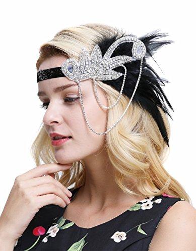 FAIRY COUPLE Inspiriert 1920er Flapper Stirnband Zubehör Gatsby Style 20er Jahre Kopfstück(Schwarz)