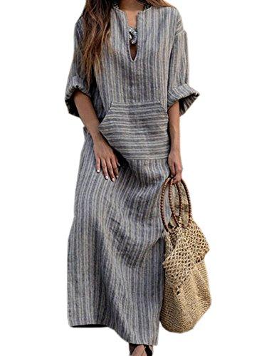 HAHAEMMA Damen Kleider Maxikleid Lose Kleid Langarm Retro Leinen Baumwolle Lange Kleider Elegante Bluse Breite Beiläufige Sommerkleider Damen Plus Größe(GY,S)
