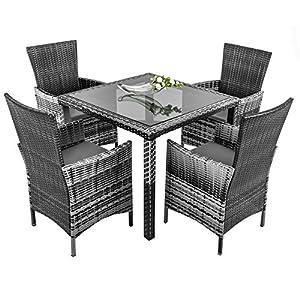 ESTEXO® Polyrattan-Sitzgruppe für 4-8 Personen, Rattan Sitzgarnitur, braun, grau, Gartenmöbelset, wetterfest, Essgruppe (4 Stühle, Grau)