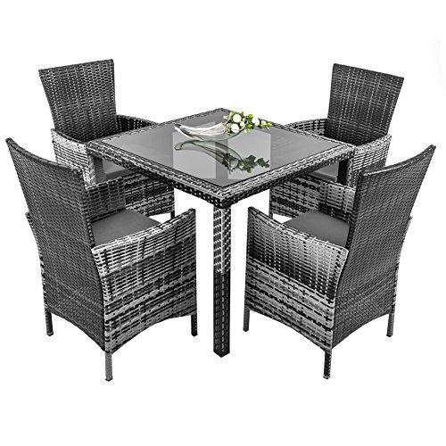 ESTEXO Polyrattan-Sitzgruppe für 4-8 Personen, Rattan Sitzgarnitur, braun, grau, Gartenmöbelset, wetterfest, Essgruppe (4 Stühle, Grau)