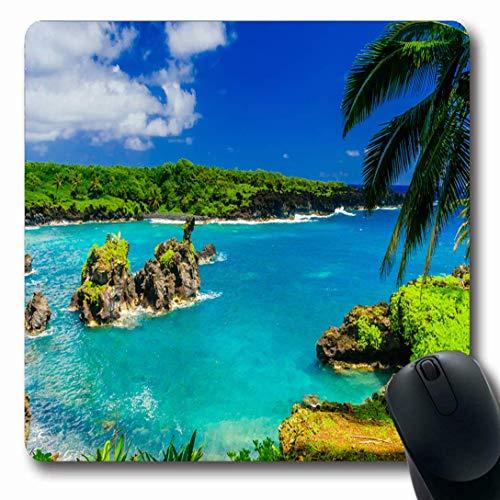 Luancrop Mauspads für Computer Küste Blaue Maui-Wellen, die auf Felsen brechen Sonnige Naturlandschaft Hawaii-Parks Hana Island Road Beach rutschfeste längliche Gaming-Mausunterlage