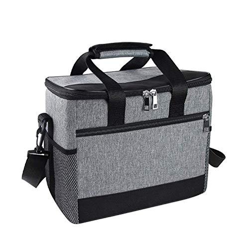 ZKSM Kühltasche 15L Picknicktasche faltbar Eistasche Mittagessen Isoliertasche Lunchtasche für Lebensmitteltransport, Büro, Camping, Beach, Auto, Outdoor, Reisen (Grau)