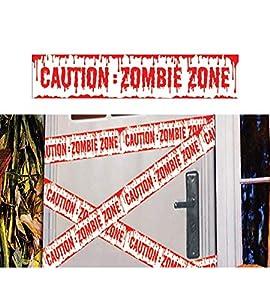 FIESTAS GUIRCA PRECAUCIÓN Cinta de señalización Zona Zombi para decoración de Halloween 600x12 cm