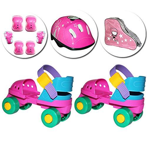 ZCRFY Einstellbare Größe Rollschuhe Zweireihig Kinder Anfänger Baby Training Allrad Rollschuhe Schlittschuhe Jungen Mädchen Rollerblades Kleinkinder Geschenk,Pink-Set4-(18-30) Code