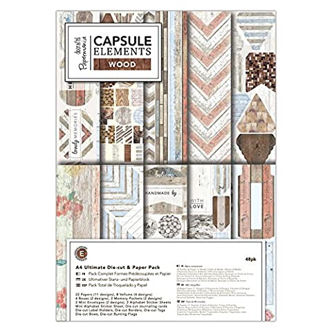docrafts Papermania Elements Wood A4 Ultimate Die-Cut & Paper Pack (Pack of 48)