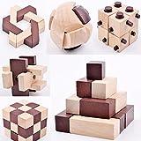 B&Julian® IQ Puzzle 3D Holzpuzzle Set 10 Knobelspiele für erwachsene Kinder Geduldspiele Rätselspiele Geschicklichkeitsspiele aus Holz Ideen Adventskalender Inhalt