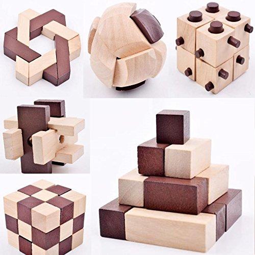 B&Julian® IQ Puzzle 3D Holzpuzzle Set 10 Knobelspiele für erwachsene Kinder Geduldspiele Rätselspiele Geschicklichkeitsspiele aus Holz Ideen Adventskalender Inhalt Test
