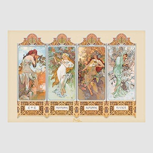 Kunstdruck Poster - Die Vier 4 Jahreszeiten Four Seasons 61 x 91,50 cm, viele Rahmenfarben zur Auswahl, hier ohne Rahmen -