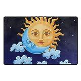 Bennigiry Sonne und Mond Stern Bereich Teppich Teppich Rutschfeste Eintrag Bodenmatte Fußmatten für Wohnzimmer Schlafzimmer 78,7 x 50,8 cm