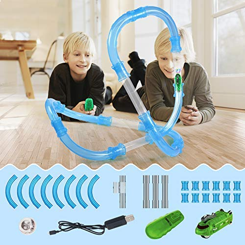 Kuultoy Zip Pipe, 36pc/Pza High-Speed Pipe,Speed Tube with Racing Car, Remote Control Toy and Shiny ball, Creative and Educational Gift for Kids