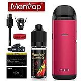 Manvap MPOD Cigarette Électronique, Mini Kit de Vape Pour Débutant, Avec 10ml E-liquide Sans Nicotine et 1 Bobine de rechange, Sans Nicotine Ni Tabac (Rouge)