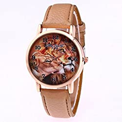 The Best Gift, Anglewolf Luxury Fashion Lions Printing PU leather Quartz Sports Watch Beige
