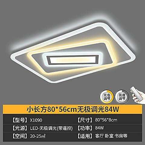 lemumu Salon LED lumière plafond 1,2 m rectangle lampes de plafond minimaliste pas de gradation d'éclairage des lampes de polarité,petit lobby est long partie 80*56*8cm 84W bi couleur pas de polarité