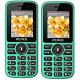 Peace P4 Green Black+ P4 Green Black COMBO OF TWO Mobile Phones With 1.8 Inch, Dual Sim, 850 MAh Battery, Wireless FM, Bluetooth, Digitel Camera, Call Recording, MP4, Internet & 1 Year Warranty