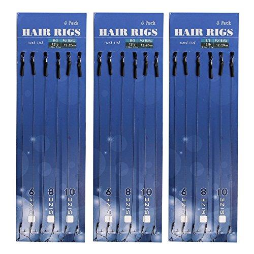 18geflochten Gewinde Karpfenangeln Hair Rigs High Carbon Stahl Haken ohne Widerhaken Rolling Swivel Boilies Karpfen Rigs Größe 6/8/10–6Von Jeder Größe, TYPE:B-8245 (Eis-angeln-rigs)