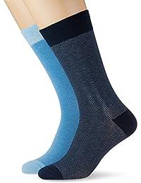 Dockers 2 Pack Seasonal Stripes, Calcetines para Hombre, Azul (Estate Blue/Starlight Blue), Talla Única (Talla del Fabricante: 1)