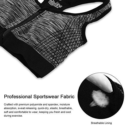 AHOOME Damen's Sport-BHs mit Front-Zip Push up ,Abnehmbar Pads für Fitness Yoga -2017 Schwarz