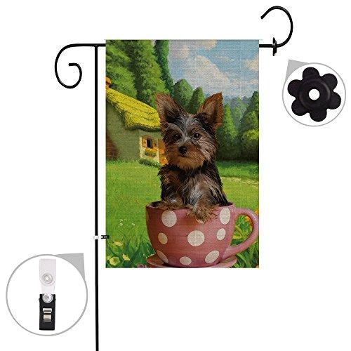 Bonsai Baum Jute Yorkie Spring Garden Flaggen 12x 18Prime Doppelseitig Sommer Yard Outdoor Deko Hund Flagge Banner Stopper & Anti-Wind Clip 12x18 01