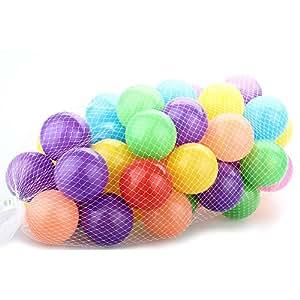 FACILLA® Set 50pcs Balle Boule Plastique PE Dia. 7cm Multicolore Jouet Piscine pour Bébé