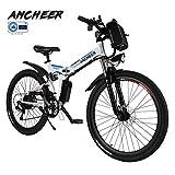 Ancheer Elektrofahrrad Faltbares Mountainbike, 26 Zoll Reifen Elektrisches Fahrrad Ebike mit 250W bürstenlosem Motor und 36V 8Ah Lithium-Batterie Shimano 21-Gang (weiß)
