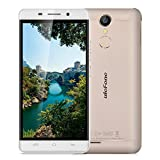 Ulefone Metal Unlocked 4G Smartphone 5.0'' HD Android 6.0 MT6753 1.3GHz Octa Core Dual SIM Mobile Phone 3GB RAM+16GB ROM 8.0MP Back Camera 2.0MP Front Camera Smart Wake Touch ID WIFI Bluetooth SIM-free Cellphone (Gold)