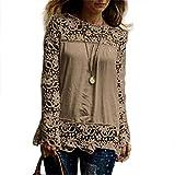 JUTOO Mode Damen Langarm Shirt Casual Spitzenbluse T-Shirt(Khaki,EU:44/CN:2XL)