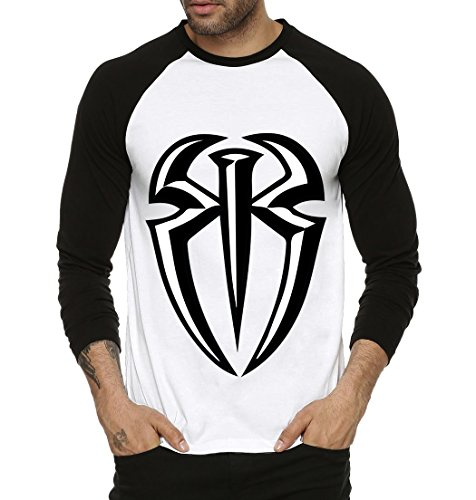Fanideaz Roman Reign Plain WWE Round Neck Raglon Tshirts for Men_Black_XXL