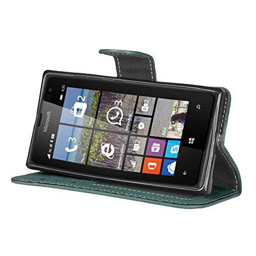 Solid Color Premium PU-Leder Tasche Cover matt Retro Flip-Ständer Case Wallet Fall mit Kartensteckplätze Photo Frames für Nokia Microsoft Lumia 435 ( Color : 2 ) 4