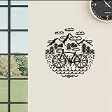 Chellonm Fahrrad Und Berge Wandtattoo Radfahren Kies Fahrrad Wand Vinyl Aufkleber Recycling Außenwanddekor 56 * 56 Cm