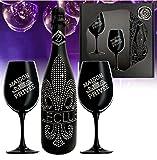 Das Sekt Geschenkset BLING!| Diamond Le Club mit 1.000 Kristallen| 2 Champagnergläser aus schwarzem Kristallglas | Luxus für Freund-in | limitierte Edition Geschenk |mo-dern Valentinstag Mutter tarn-et