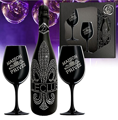 Das Sekt Geschenkset BLING!| Diamond Le Club mit 1.000 Kristallen 2 Champagnergläser aus schwarzem Kristallglas | limitierte Edition Geschenk Valentinstag Mutter