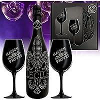 Le Club Vinos espumoso Swarovski | set de regalo regalo para las mujeres |copa de champán dos vasos plata anodizado | alternativa a champán | lujo Cavas Champanes Prosecco